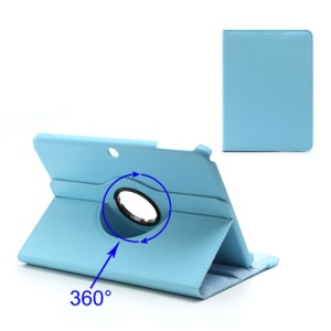 360 Degree Rotary For Samsung Galaxy Tab 3 10.1 P5200 P5210 Lychee Leather Case - Baby Blue