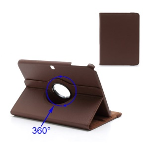 For Samsung Galaxy Tab 3 10.1 P5200 P5210 360 Degree Rotary Leather Case w/ Stand - Brown