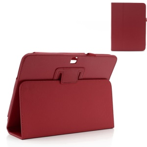 Red Litchi Leather Stand Cases for Samsung Galaxy Tab 3 10.1 P5200 P5210