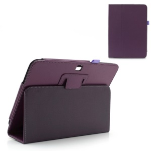 Purple Litchi Leather Case Stand for Samsung Galaxy Tab 3 10.1 P5200 P5210