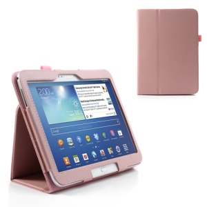 Pink Litchi Leather Stand Case for Samsung Galaxy Tab 3 10.1 P5200 P5210
