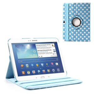 Polka Dot 360 Degree Rotating Leather Case w/ Stand for Samsung Galaxy Tab 3 10.1 P5200 P5210 - White Dots / Blue