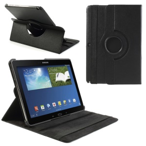 360 Rotary Litchi Grain Leather Cover w/ Stand for Samsung Galaxy Note 10.1 (2014 Edition) SM-P600 - Black