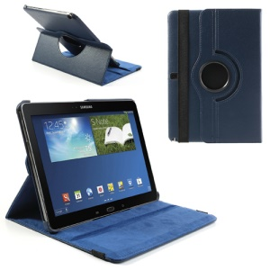 For Samsung Galaxy Note 10.1 (2014 Edition) SM-P600 360 Rotary Litchi Leather Shell w/ Stand - Dark Blue