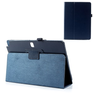 Dark Blue Lychee Leather Case w/ Stand for Samsung Galaxy Note 10.1 (2014 Edition) SM-P600 / Galaxy Tab Pro 10.1