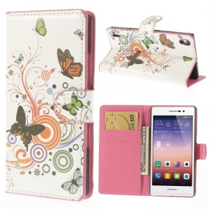Butterfly Circles Leather Wallet Cover w/ Stand for Huawei Ascend P7