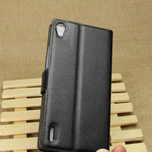 Black for Huawei Ascend P7 Litchi Leather Wallet Protective Shell Cover