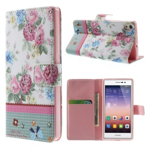 Peony Blossom Lace Rhinestone for Huawei Ascend P7 Leather Flip Stand Cover