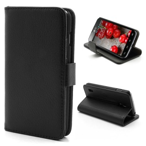 Litchi Wallet Style Leather Case Stand for LG Optimus L7 II Dual P715 Duet+ - Black
