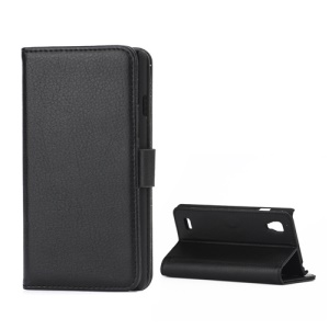 Lychee Leather Case with Folio Stand Wallet Function for LG Optimus L9 P760 P765 P768 - Black