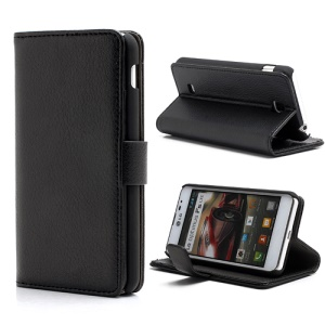 Litchi Leather Wallet Case Cover w/ Stand for LG Optimus F5 P875 - Black