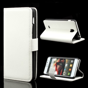 Litchi Leather Wallet Case Cover w/ Stand for LG Optimus F5 P875 - White