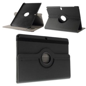 Black 360 Rotary Stand Twill Grain Smart Leather Case for Samsung Galaxy Note Pro 12.2 P900 / T900 w/ Card Slots