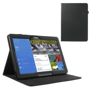 Litchi Leather Stand Case for Samsung Galaxy Note Pro 12.2 P900 / Tab Pro 12.2 T900 - Black