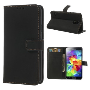 Retro Style Wallet Leather Stand Case Cover for Samsung Galaxy S5 G900F - Black