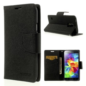 Mercury Goospery Fancy Diary Leather Wallet Case for Samsung Galaxy S5 G900 - Black