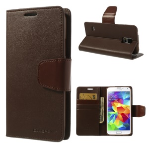 Mercury Goospery Leather Sonata Diary Case para Samsung Galaxy S5 G900 - café