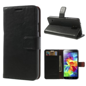 Crazy Horse Card Slots Leather Case for Samsung Galaxy S5 G900 w/ Stand - Black