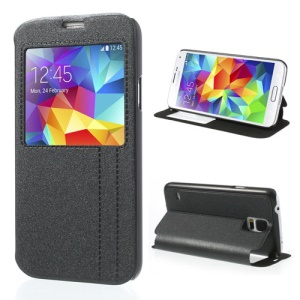 areia negra-like Texture PU Leather Case w / Stand & View Window para Samsung Galaxy S5 G900