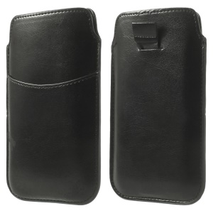 Black Crazy Horse Leather Card Holder Pouch Case w/ Pull Tab for Samsung Galaxy S5 / S6, Size: 14.8 x 8.5cm