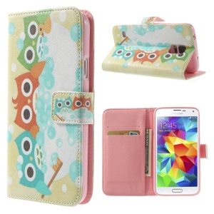Three Lovely Owls Wallet Leather Stand Case Cover for Samsung Galaxy S5 G900