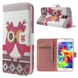 For Samsung Galaxy S5 G900 Flowered Girl Owl Wallet Leather Skin Case w/ Stand