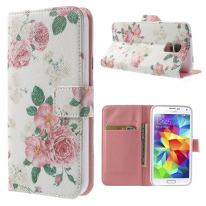 Pretty Flowers White Background Wallet Leather Cover Stand for Samsung Galaxy S5 G900