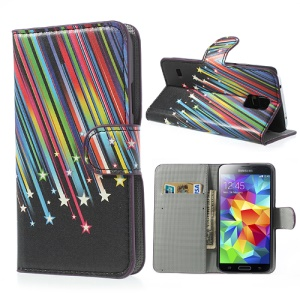 Colorful Shooting Star Wallet Leather Shell for Samsung Galaxy S5 G900 w/ Stand