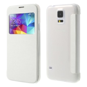 View Window Leather Cover + PC Back Folio Shell for Samsung Galaxy S5 G900 - White