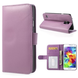 Purple Leather Wallet Stand Case for Samsung Galaxy S5 SV G900 w/ 3 Card Slots