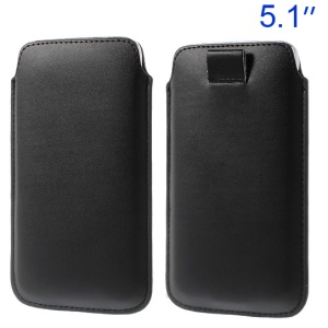 Black Pull Tab Leather Pouch Case for Samsung Galaxy S5 G900/ S4 I9500/ S III mini VE I8200 Etc