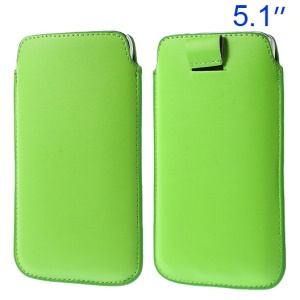 Green Pull Tab Leather Sleeve Pouch for Samsung Galaxy S5 G900/ S4 I9500/ S III mini VE I8200 Etc