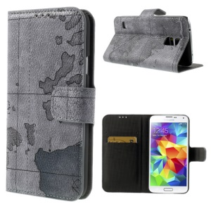 World Map Leather Case Stand w/ Card Slots for Samsung Galaxy S5 G900 - Grey