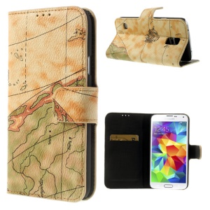 For Samsung Galaxy S5 G900 World Map Leather Magnetic Case w/ Card Slots - Yellow