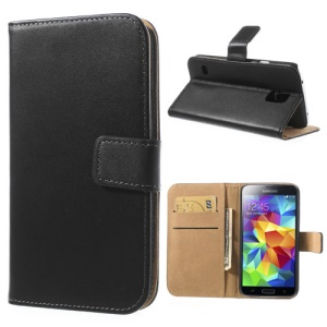 Black Genuine Split Leather Case for Samsung Galaxy S5 G900 w/ Wallet & Stand