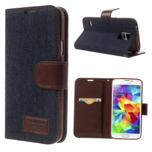 Jeans Cloth Wallet Leather Case w/ Stand for Samsung Galaxy S5 G900 - Black Blue