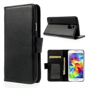 Black Smooth Leather Stand Case w/ Wallet for Samsung Galaxy S5 G900