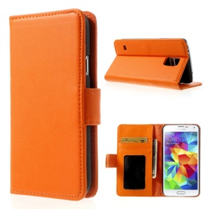Orange Smooth Leather Wallet Shell with Stand for Samsung Galaxy S5 G900