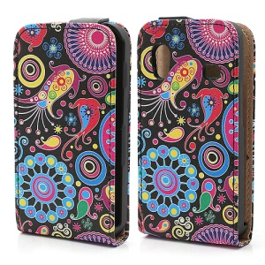 Colorful Flower Ribbon Vertical Flip Leather Case Cover for Samsung Galaxy Ace S5830