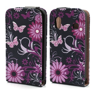 Rose Flower & Butterfly Vertical Flip Leather Skin Case  for Samsung Galaxy Ace S5830