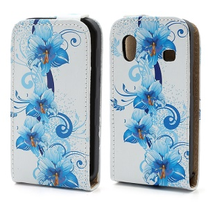 Flora &Blooming Blue Flower Vertical Leather Cover Case for Samsung Galaxy Ace S5830