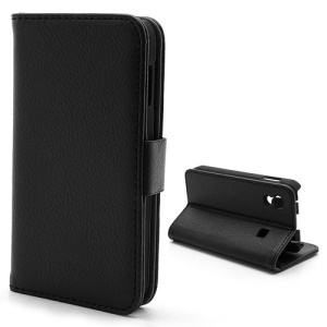 Litchi Diary Leather Magnetic Flip Case Stand for Samsung Galaxy Ace S5830 - Black