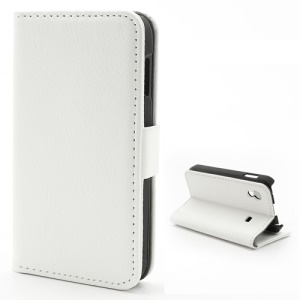 Litchi Diary Leather Magnetic Flip Case Stand for Samsung Galaxy Ace S5830 - White
