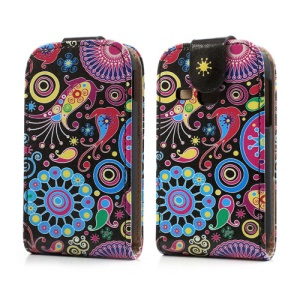 Colorful Flower Ribbon Vertical Flip Leather Case for Samsung Galaxy Young S6310