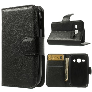 Litchi Leather Wallet Stand Shell for Samsung Galaxy Fame S6810 S6810P