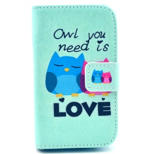 Owl You Need is Love Pattern Leather Magnetic Case w/ Stand for Samsung Galaxy Fame S6810 S6810P