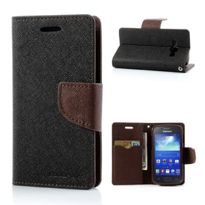 Mercury GOOSPERY Fancy Diary Wallet Leather Case for Samsung Galaxy Ace 3 S7270 S7275 - Brown / Black