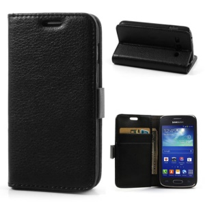 Black Lychee Leather Stand Case for Samsung Galaxy Ace 3 S7270 S7275