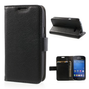 Lychee Wallet Leather Stand Case for Samsung Galaxy Trend Lite S7390 - Black