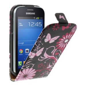Vertical Butterflies Floral Leather Shell for Samsung Galaxy Trend Lite S7390 S7392